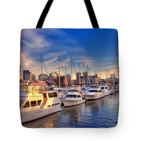 Late Afternoon at Constitution Marina - Charlestown Tote Bag by Joann Vitali