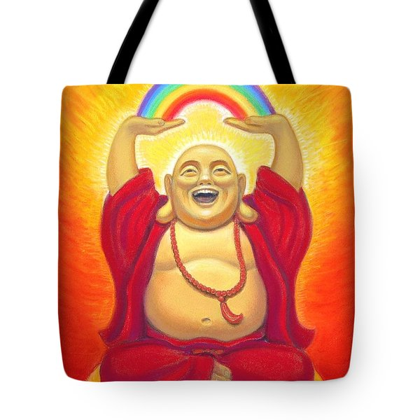Laughing Rainbow Buddha Tote Bag by Sue Halstenberg