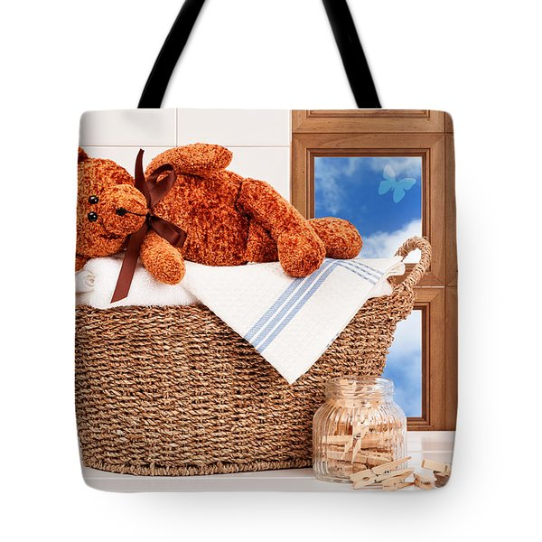 Laundry With Teddy Tote Bag by Amanda Elwell