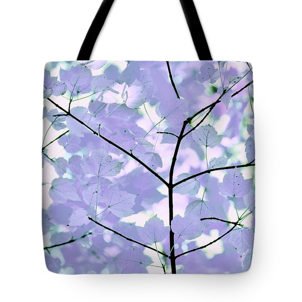 Lavender Blues Leaves Melody Tote Bag by Jennie Marie Schell