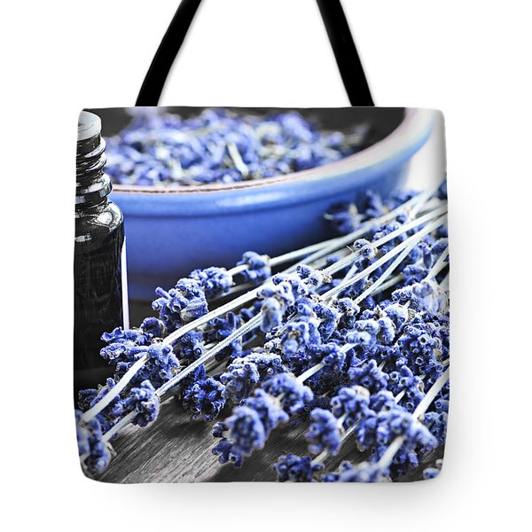 Lavender Herb And Essential Oil Tote Bag by Elena Elisseeva