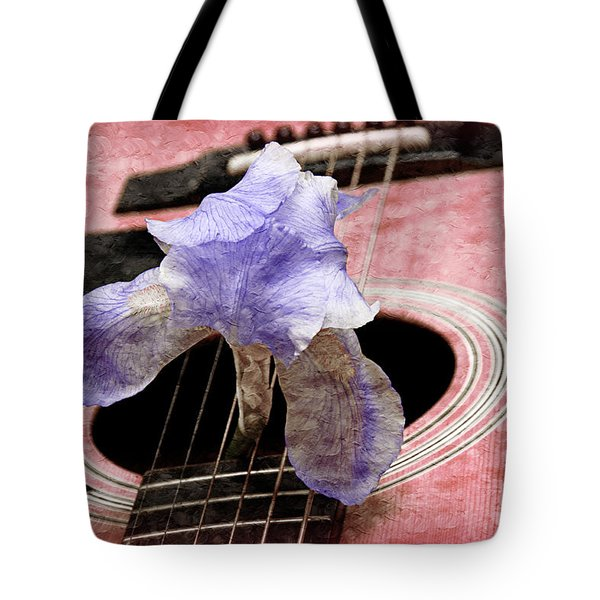 Lavender Iris And Acoustic Guitar - Texture - Music - Musical Instrument - Painterly - Pink Tote Bag by Andee Design