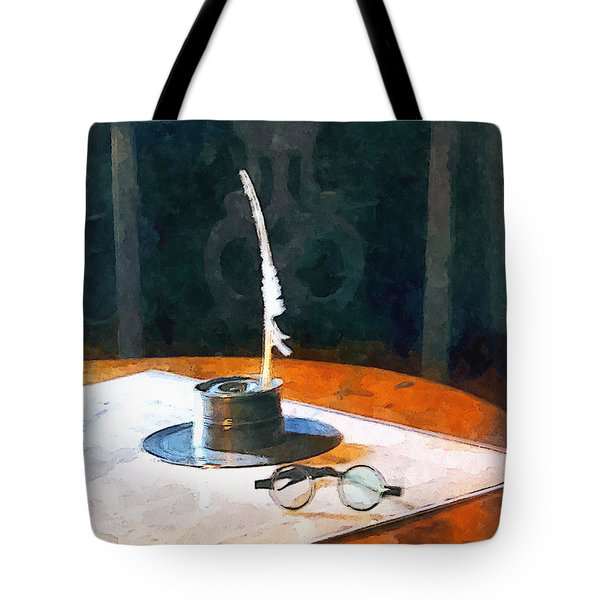 Lawyer - Quill And Spectacles Tote Bag by Susan Savad