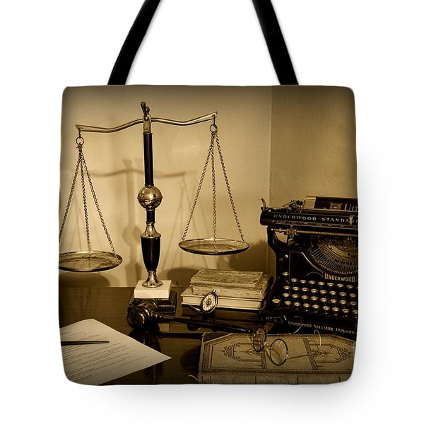 Lawyer - The Lawyer's Desk In Black And White Tote Bag by Paul Ward