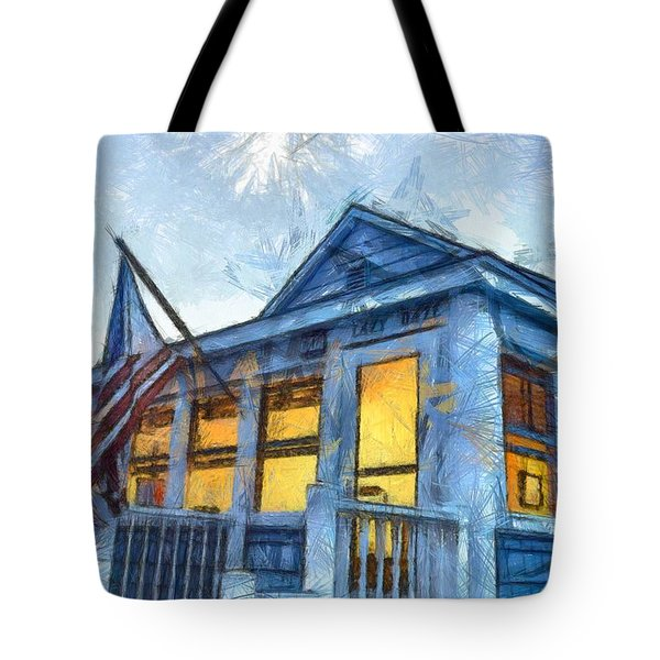 Lazy Daze Beach Cottage Pencil Sketch Tote Bag by Edward Fielding