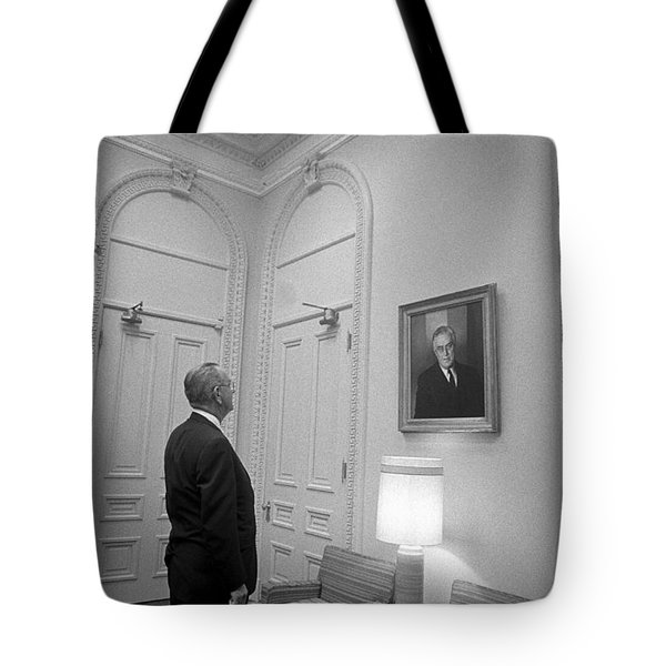 Lbj Looking At Fdr Tote Bag by War Is Hell Store