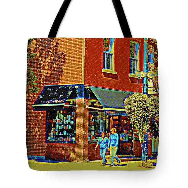 Le Fouvrac Foods Chocolates And Coffee Shop Corner Garnier And Laurier Montreal Street Scene Tote Bag by Carole Spandau