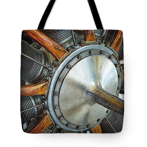 Le Rhone C-9j Engine Tote Bag by Michelle Calkins