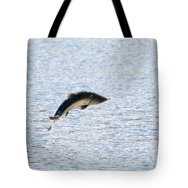Leaping Chinook Tote Bag by Mike  Dawson