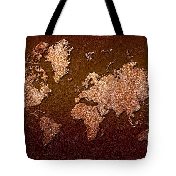 Leather World Map Tote Bag by Zaira Dzhaubaeva