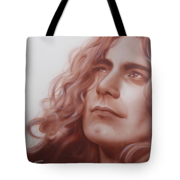Robert Plant - ' Leaves Are Falling All Around ' Tote Bag by Christian Chapman Art