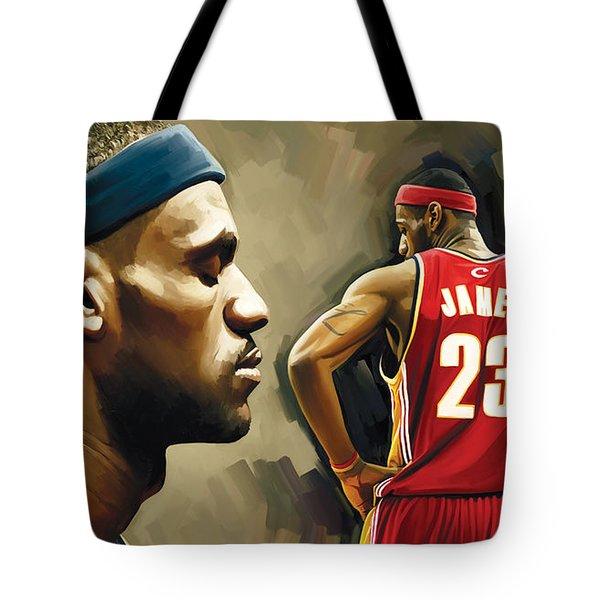 Lebron James Artwork 1 Tote Bag by Sheraz A