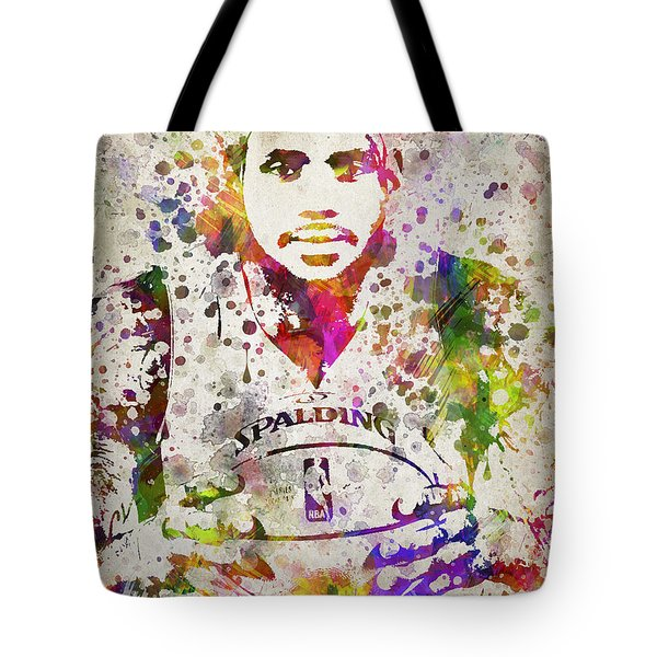 Lebron James In Color Tote Bag by Aged Pixel