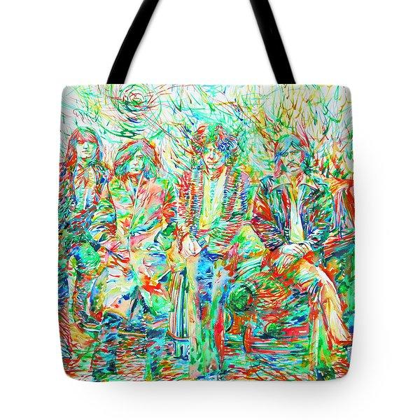 Led Zeppelin - Watercolor Portrait.1 Tote Bag by Fabrizio Cassetta