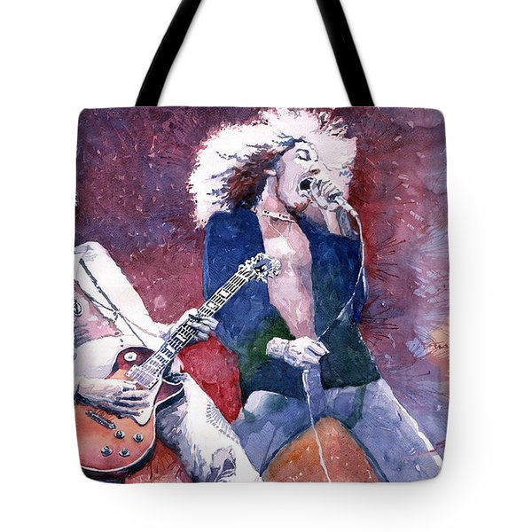 Led Zeppelin Jimmi Page And Robert Plant  Tote Bag by Yuriy  Shevchuk