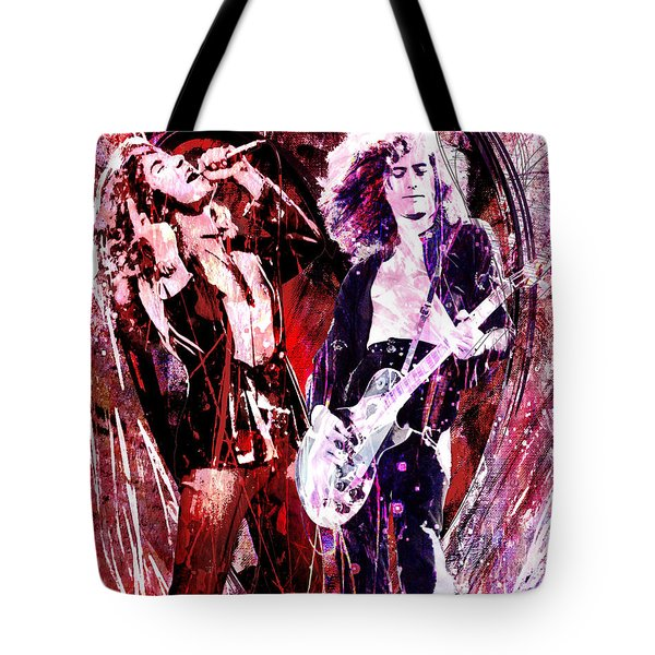 Led Zeppelin - Jimmy Page And Robert Plant Tote Bag by Ryan Rock Artist