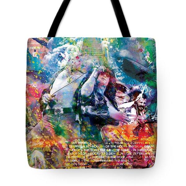 Led Zeppelin Original Painting Print  Tote Bag by Ryan Rock Artist