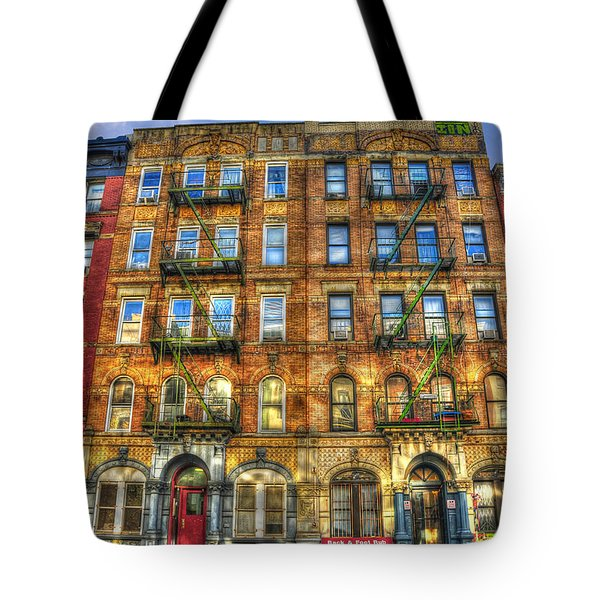 Led Zeppelin Physical Graffiti Building In Color Tote Bag by Randy Aveille