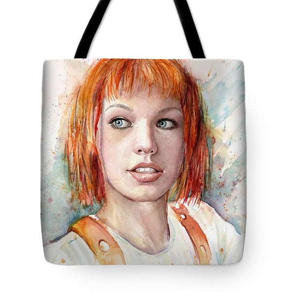Leeloo Portrait Multipass The Fifth Element Tote Bag by Olga Shvartsur