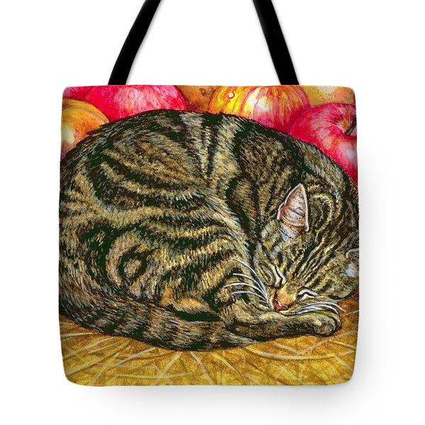 Left Hand Apple Cat Tote Bag by Ditz