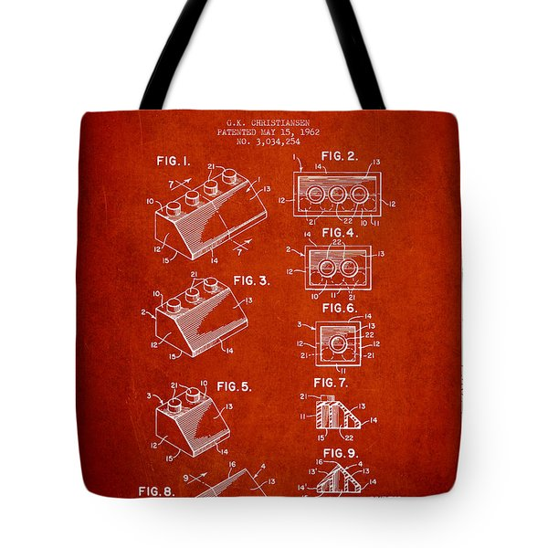 Lego Toy Building Blocks Patent - Red Tote Bag by Aged Pixel