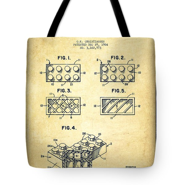 Lego Toy Building Element Patent - Vintage Tote Bag by Aged Pixel