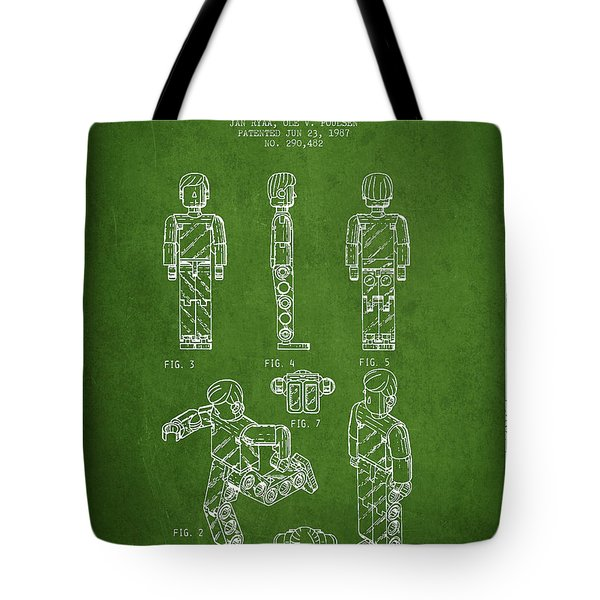 Lego Toy Figure Patent - Green Tote Bag by Aged Pixel