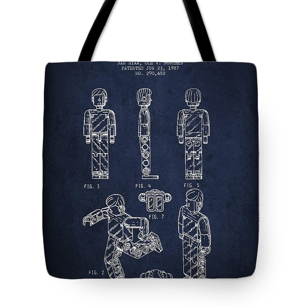 Lego Toy Figure Patent - Navy Blue Tote Bag by Aged Pixel
