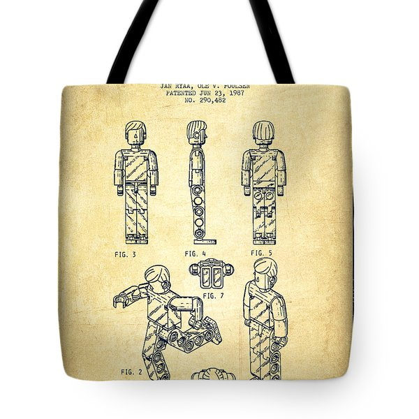 Lego Toy Figure Patent - Vintage Tote Bag by Aged Pixel