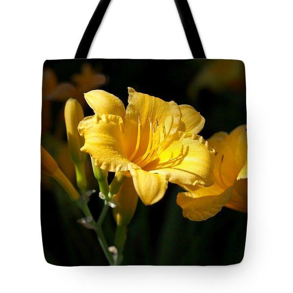 Lemon Yellow Daylilies Tote Bag by Rona Black