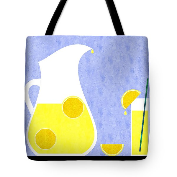 Lemonade And Glass Blue Tote Bag by Andee Design