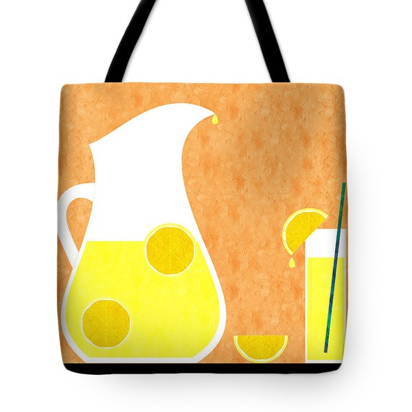 Lemonade And Glass Orange Tote Bag by Andee Design