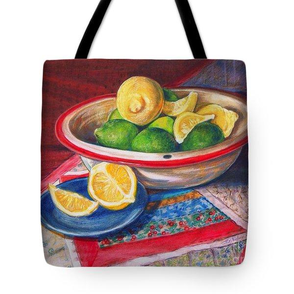 Lemons and Limes Tote Bag by Joy Nichols