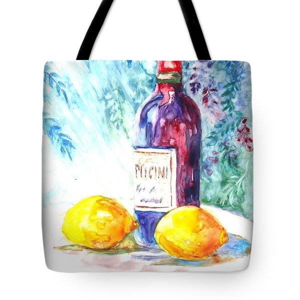 Lemons And Wine And A Little Sunshine Tote Bag by Carol Wisniewski