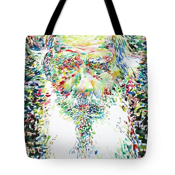 Leo Tolstoy Watercolor Portrait.1 Tote Bag by Fabrizio Cassetta