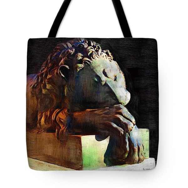 Leo Weeps Tote Bag by RC DeWinter