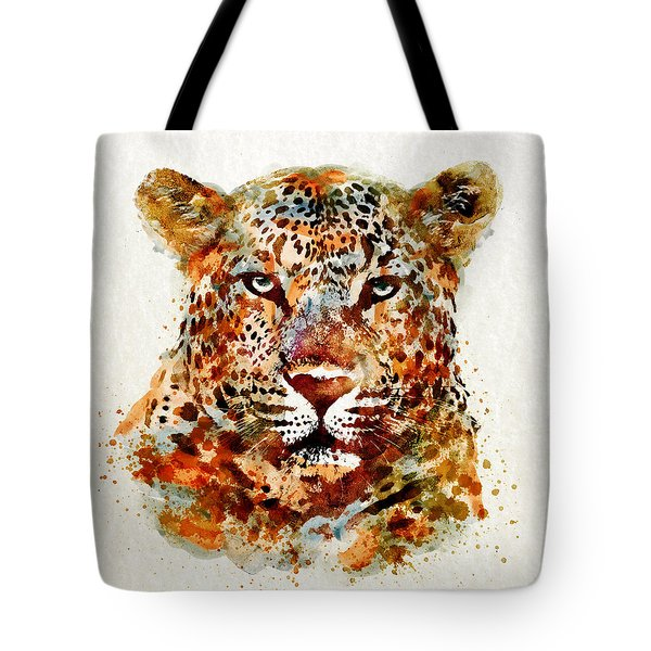 Leopard Head Watercolor Tote Bag by Marian Voicu