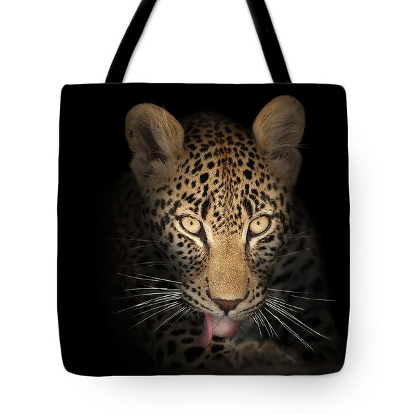 Leopard In The Dark Tote Bag by Johan Swanepoel