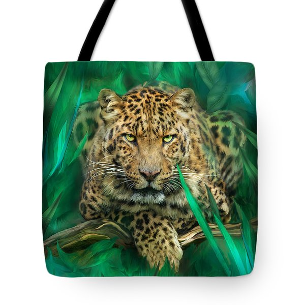 Leopard - Spirit Of Empowerment Tote Bag by Carol Cavalaris