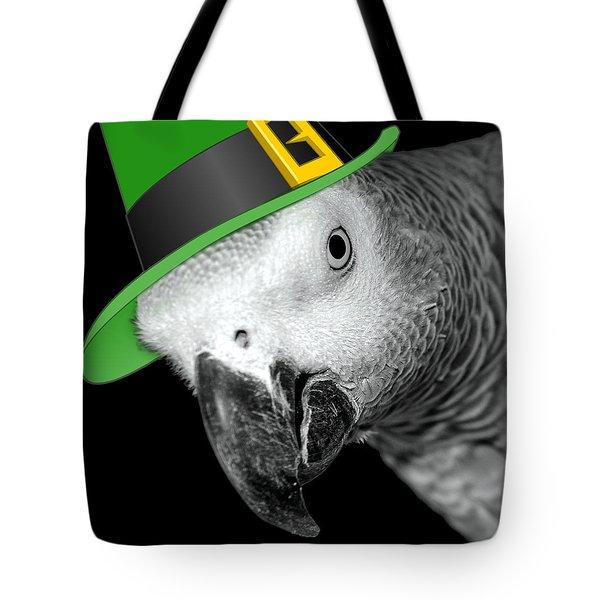 Leprechaun Parrot Tote Bag by Mim White