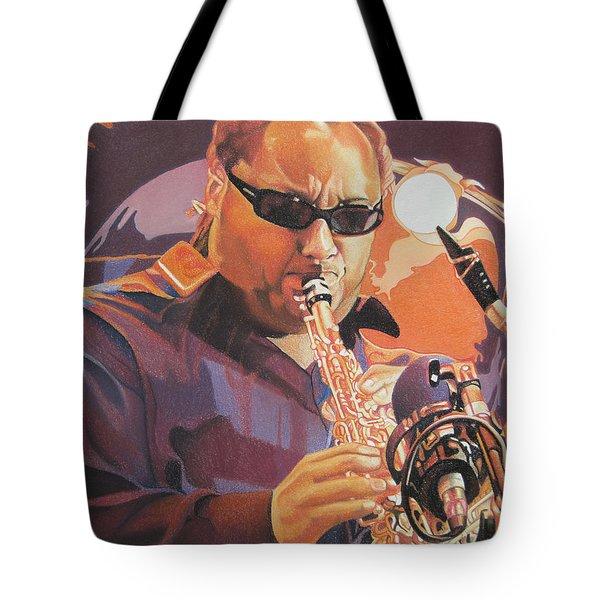 Leroi Moore Purple And Orange Tote Bag by Joshua Morton