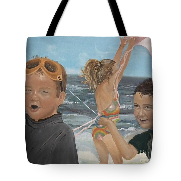 Beach - Children playing - kite Tote Bag by Jan Dappen