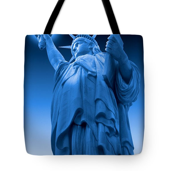 Liberty Shines On In Blue Tote Bag by Mike McGlothlen