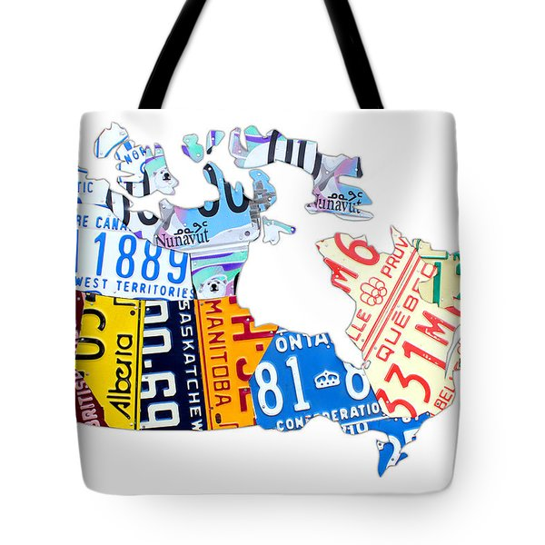 License Plate Map Of Canada On White Tote Bag by Design Turnpike