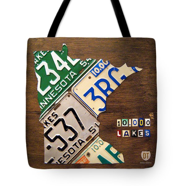 License Plate Map Of Minnesota By Design Turnpike Tote Bag by Design Turnpike