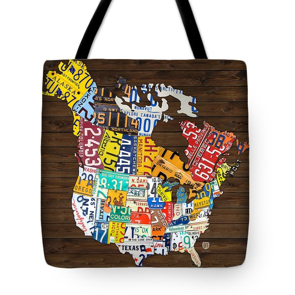 License Plate Map of North America - Canada and United States Tote Bag by Design Turnpike