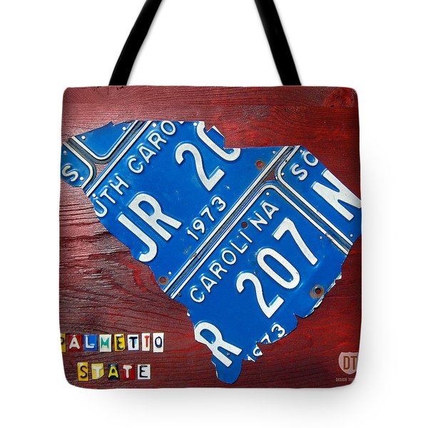 License Plate Map Of South Carolina By Design Turnpike Tote Bag by Design Turnpike