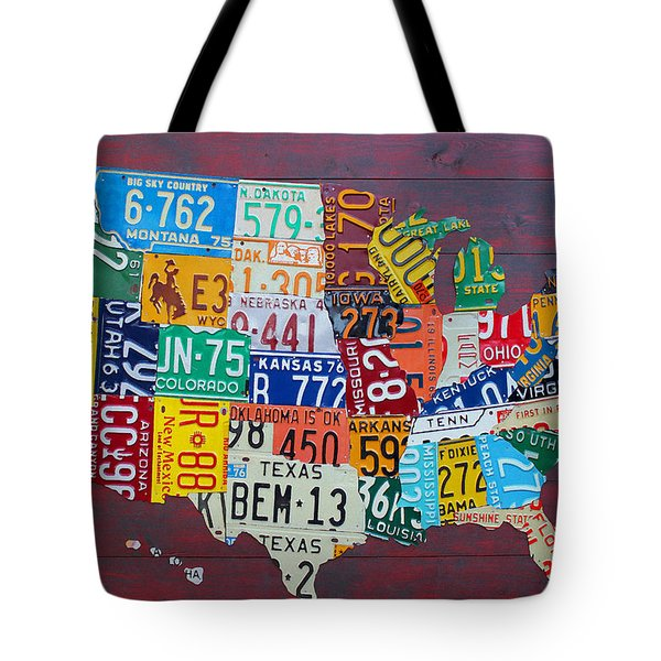 License Plate Map of The United States Tote Bag by Design Turnpike