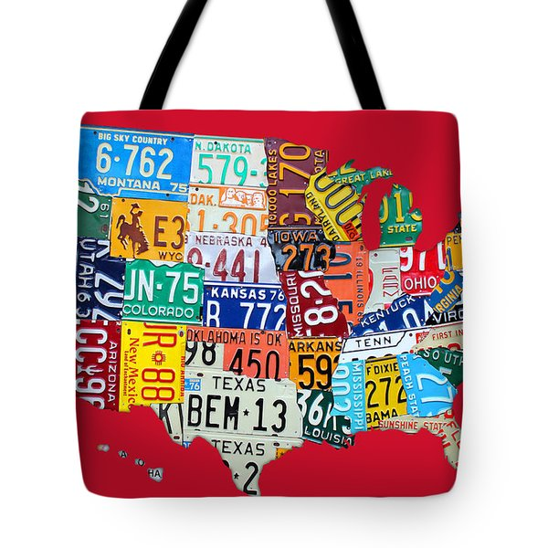 License Plate Map Of The United States On Bright Red Tote Bag by Design Turnpike