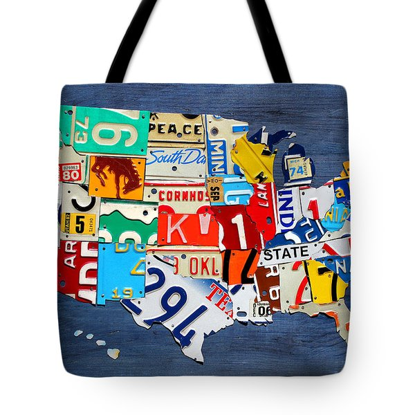License Plate Map of The United States - Small on Blue Tote Bag by Design Turnpike